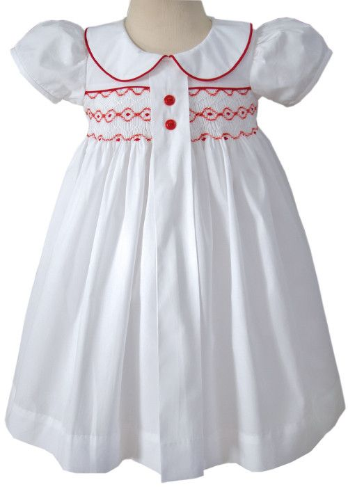 Primrose White Girls Holiday Dress with Red Smocking – Carousel Wear