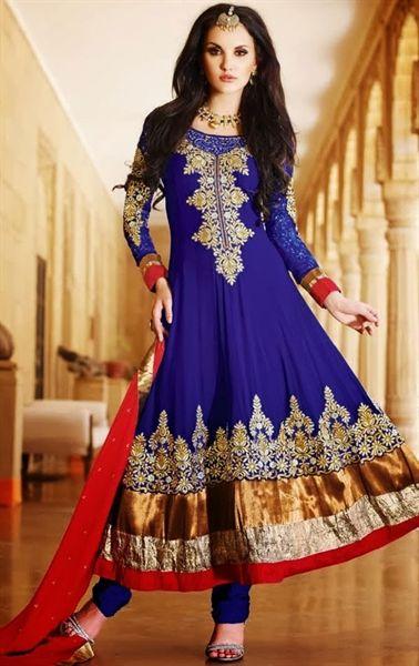 Royal Blue Color Anarkali Salwar Kameez Set INAPSK12532202B - www.indianwardrobe.com
