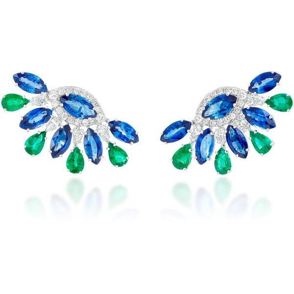 Sutra Sapphire and Emerald Stud Earrings ($22,000) ❤ liked on Polyvore featuring jewelry, earrings, multi, emerald jewelry, sapphire jewellery, stud earrings, sapphire earrings and emerald jewellery