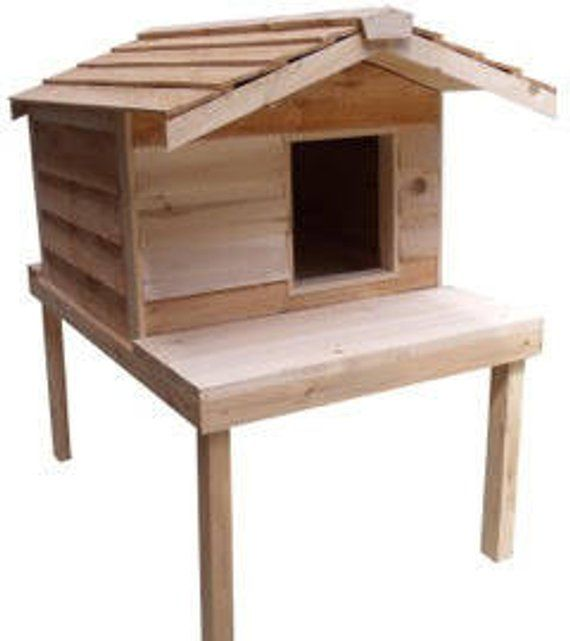 Large Insulated Cat House With Platform And Extended Roof Outside Cat House Outdoor Cat House Insulated Cat House