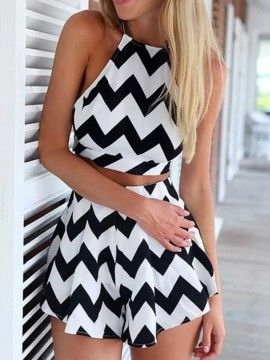 Shop Monochrome Chevron Print Crop Top And High Waist Shorts from choies.com .Free shipping Worldwide.$13.9