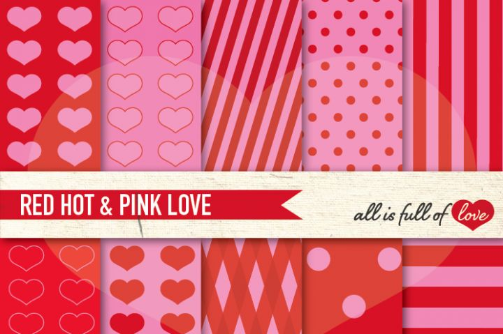 Love Backgrounds in Red Hot Pink Digital Paper Pack By All is full of love