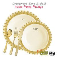 Ornament Value party package - gold plastic plates