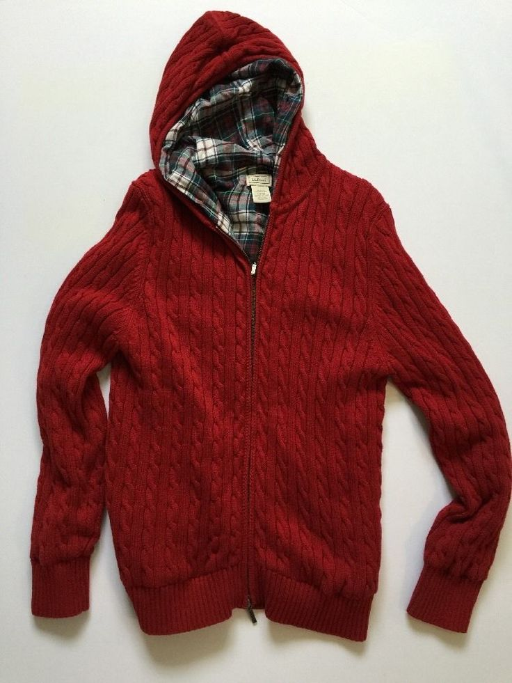 LL BEAN Mens Medium RED Cable Knit Hooded Sweater Flannel Lined Double Zip   #LLBean #ShirtsTops