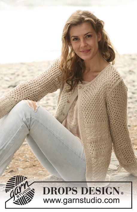 Knitted DROPS jacket with textured pattern and lace pattern in Muskat  Size  S   XXXL    DROPS Design