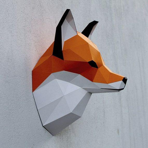 Papercraft fox head printable DIY template 8 by WastePaperHead