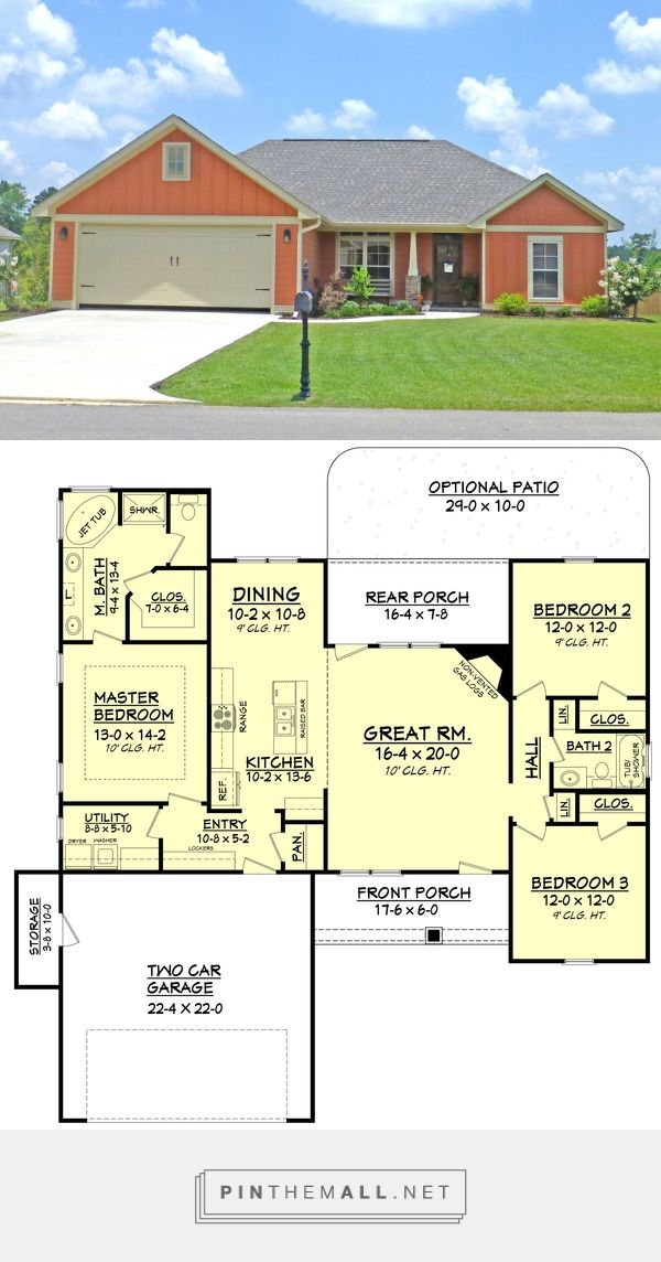 Craftsman Style House Plan - 3 Beds 2 Baths 1596 Sq/Ft Plan #430-96. Really efficient plan, just needs an office - created via https://pinthemall.net