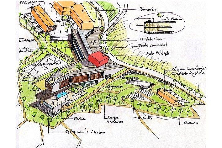 Idea inicial. Colegio Santo Domingo Savio. Medellín, Colombia. 2008Obranegra arquitectos