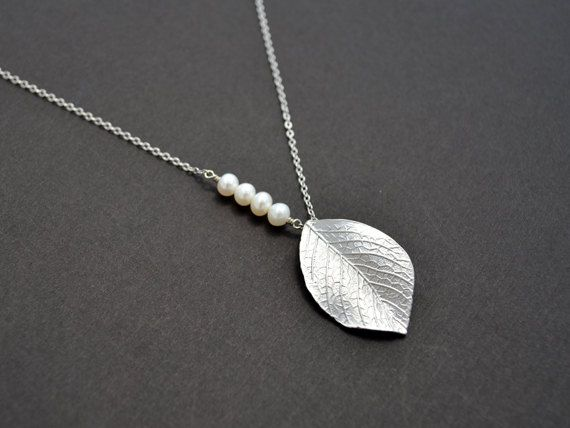 white gold plated leaf and pearl necklace by LilliDolli on Etsy, $18.00 love this