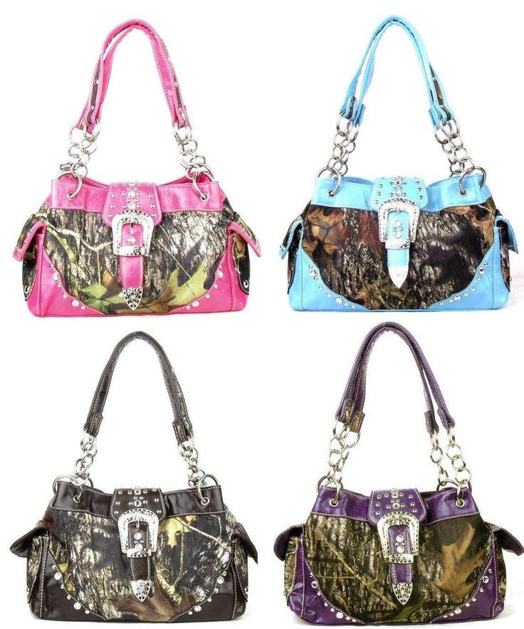 Western Belt Buckle Purse Camouflage Handbag Mossy Oak Camo #HandbagsBlingMore #Hobo