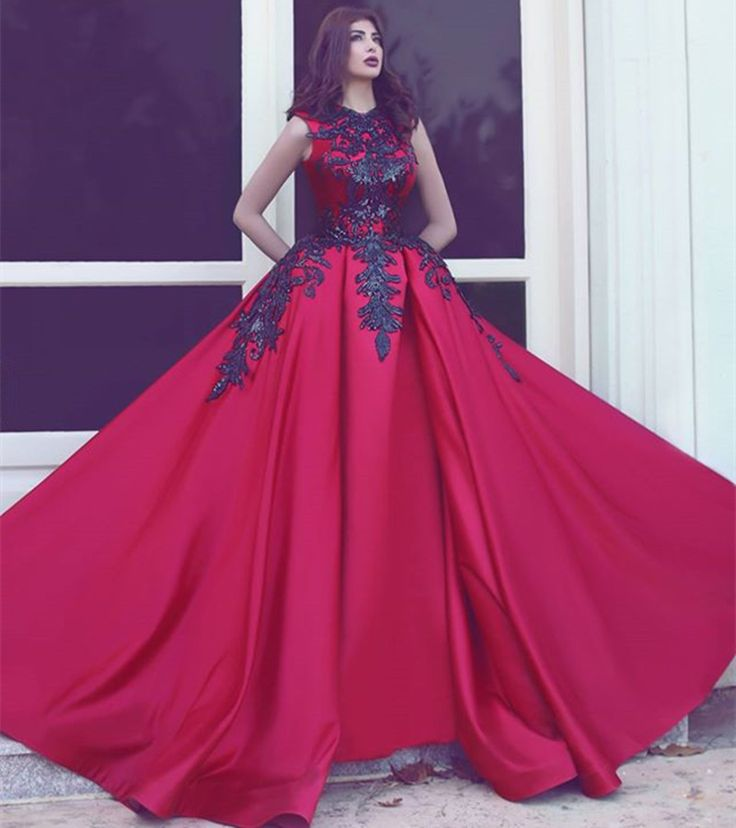 Elegant-Red-and-font-b-Black-b-font-font-b-Puffy-b-font-Evening-Dresses-Long.jpg (800×901)