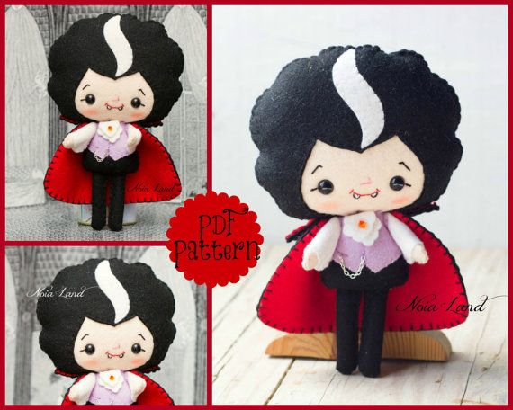 PDF. Dracula. Vampire. Halloween pattern. Plush Doll Pattern, Softie Pattern, Soft felt Toy Pattern.