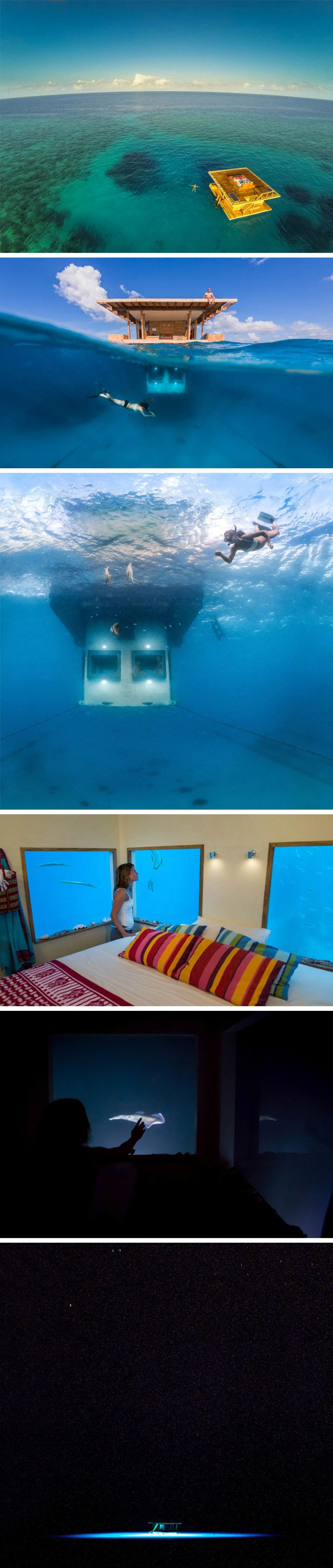 Underwater floating hotel room in Zanzibar.