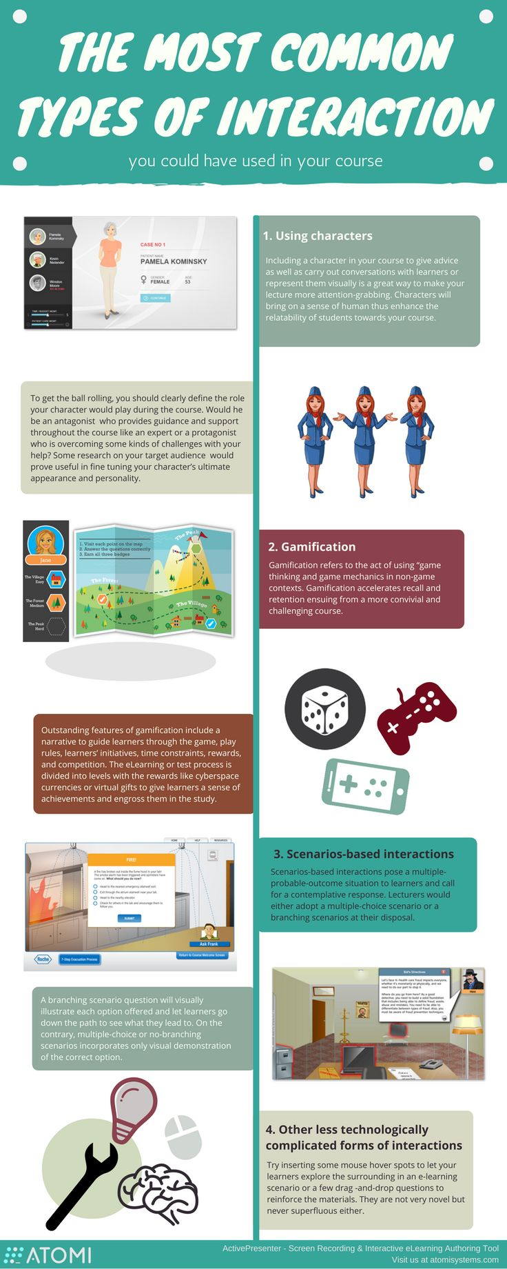 Common Types of Interactions to Use in eLearning Courses Infographic - http://elearninginfographics.com/common-interactions-elearning-courses-infographic/