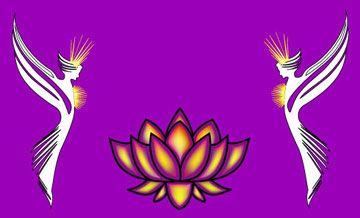 Deva´er omkring violet/gylden Lotus blomst