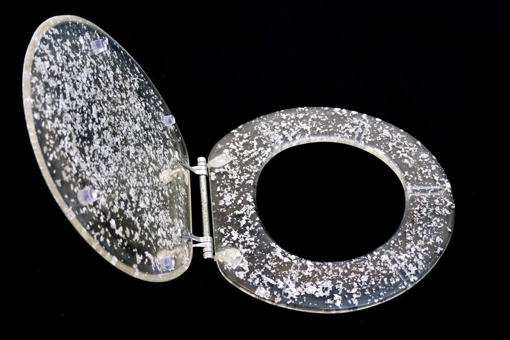 Mid-Century Modern Lucite Toilet Seat Cover || Silver Flake Details || Glam Bathroom Decor by ELECTRICmarigold on Etsy https://www.etsy.com/listing/520522561/mid-century-modern-lucite-toilet-seat