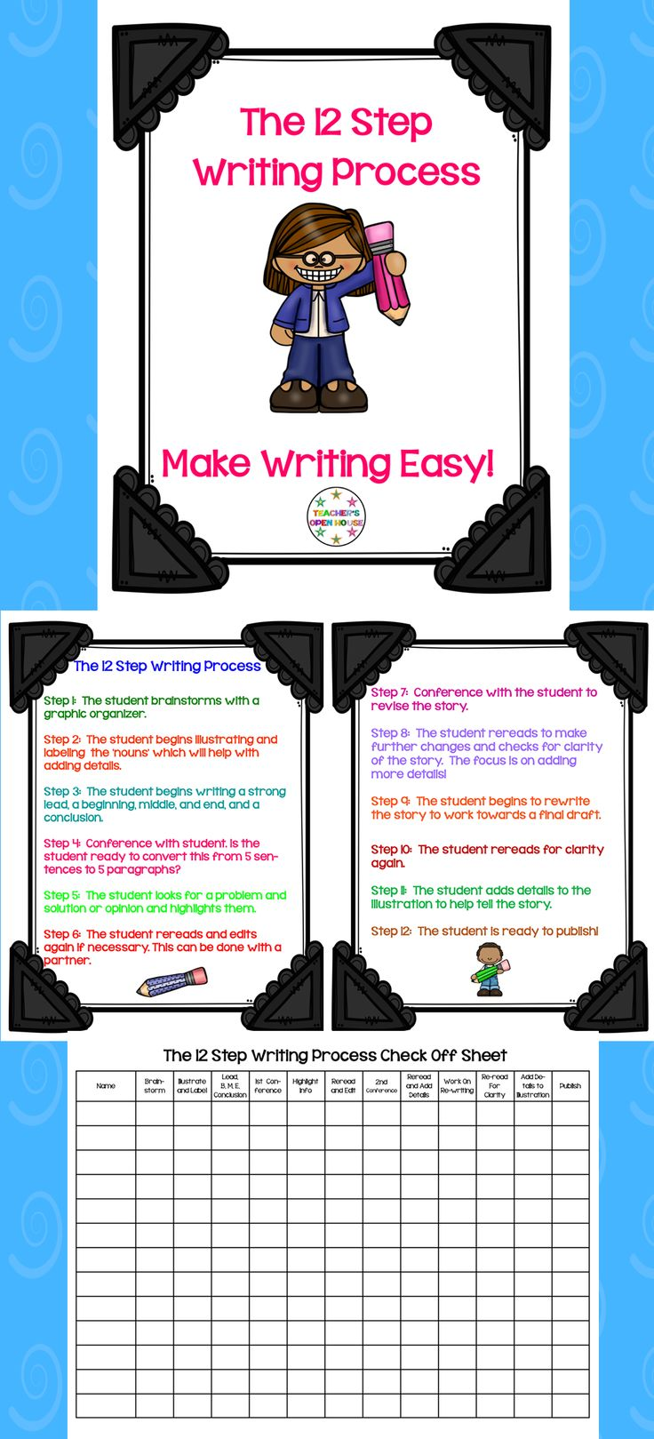 Make writing easy with this 'cliff note' version of the writing process! This pack provides 12 easy steps to making writing easy! You can apply it to any writing program! It works with all writing standards in any state! Great for first grade, second grade, third grade, fourth grade, and even fifth grade writing workshop!