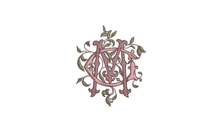 Antike belaubte C M Monogramm – Maschine Stickdatei Design – 4 x 4 Zoll Hoop – Vintage Monogramm – MC monogram