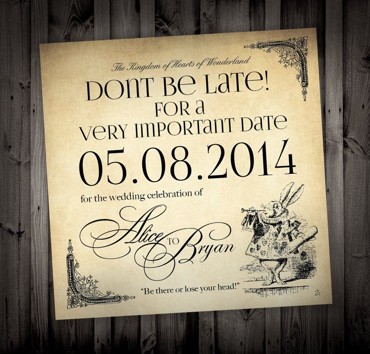Alice in Wonderland Themed Wedding Invitations by NimbiDesign, $25.00