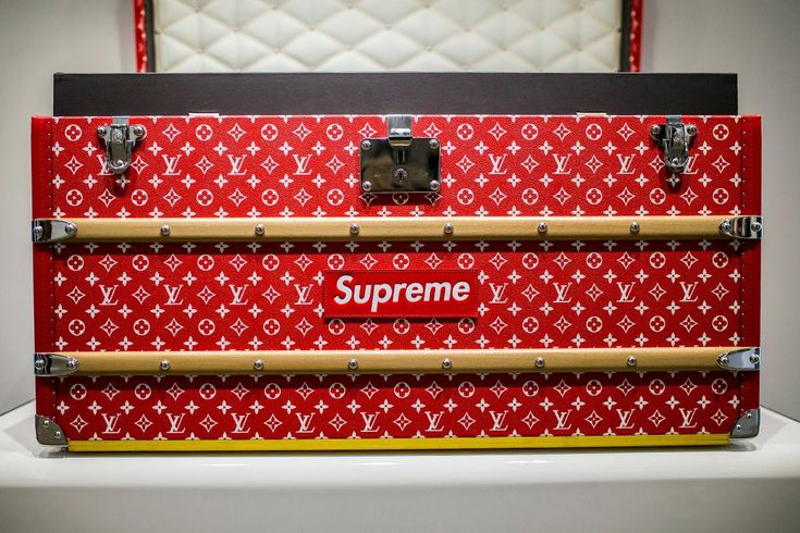 One of the more coveted pieces from the collab is no doubt the signature Louis Vuitton trunk, done up in red and adorned with both LV and Supreme branding.