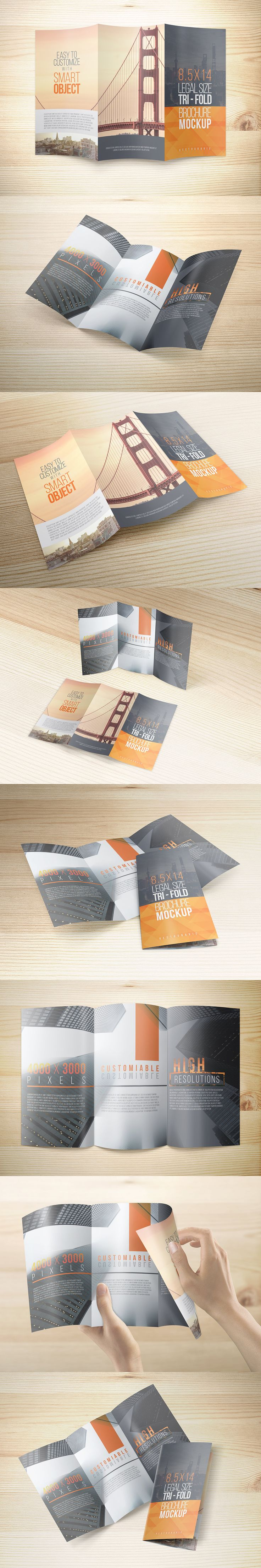 Another tri-fold flyer/brochure mockups provided in legal size (8.5x14). Simple and usable for print design project showcase or for display in your printing service website. This package comes with eight different PSD views of angles and easily you can edit the mockups via smart object feature. Please refer to the help PDF file included in the zip file.