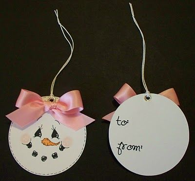 Snowman Christmas Tags....make from plain round tags