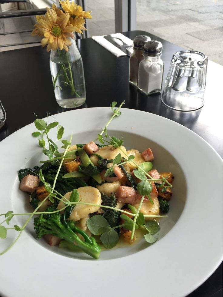 New Gnocchi Special! Spinach and broccoli Gnocchi with smoked ham, roasted pumpkin in a sage burnt butter sauce.