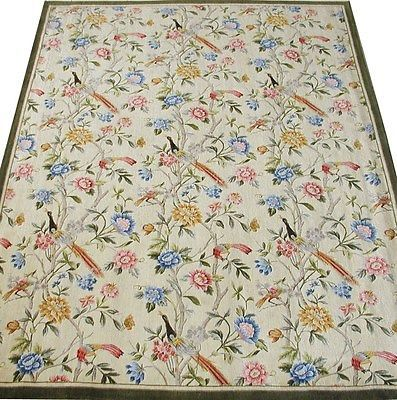 10'x14' Hand Knotted Thick and Plush Flower Tree Birds French Savonnerie Rug -33