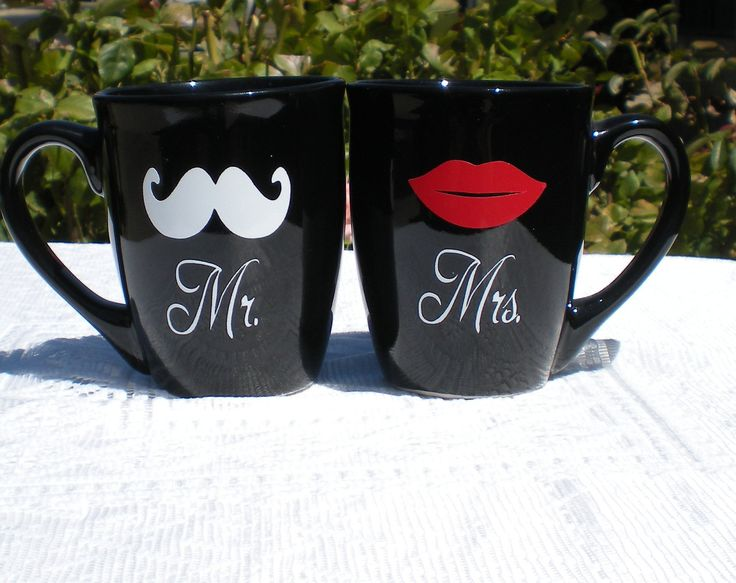 Mr and mrs mug set pair with a bag of coffee from vinyl artvinyl decalsstickerpersonalized mugsmugs