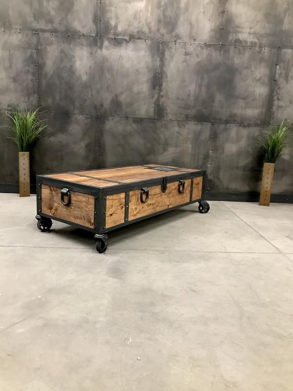 Rustic Wood Coffee Table With Wheels And Handles Wood Trunk With