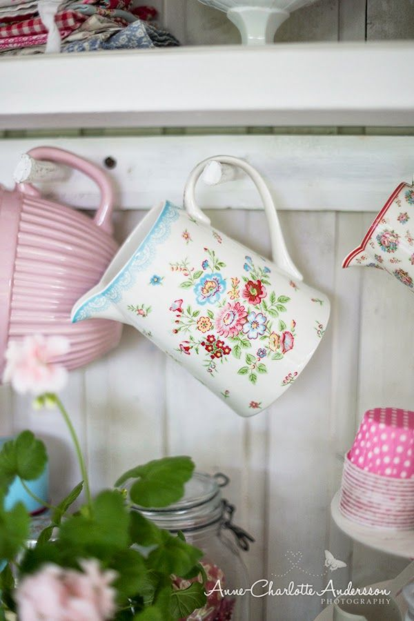 A glorious greengate stoneware jug in the prettiest shabby kitchen ever! I love the decor in this kitchen and all of the pretty baking accessories.