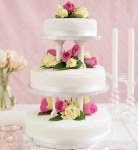 Wedding Cake Ideas Buy Three Various Sized Simple Cakes From A Local Grocery Store Bakery