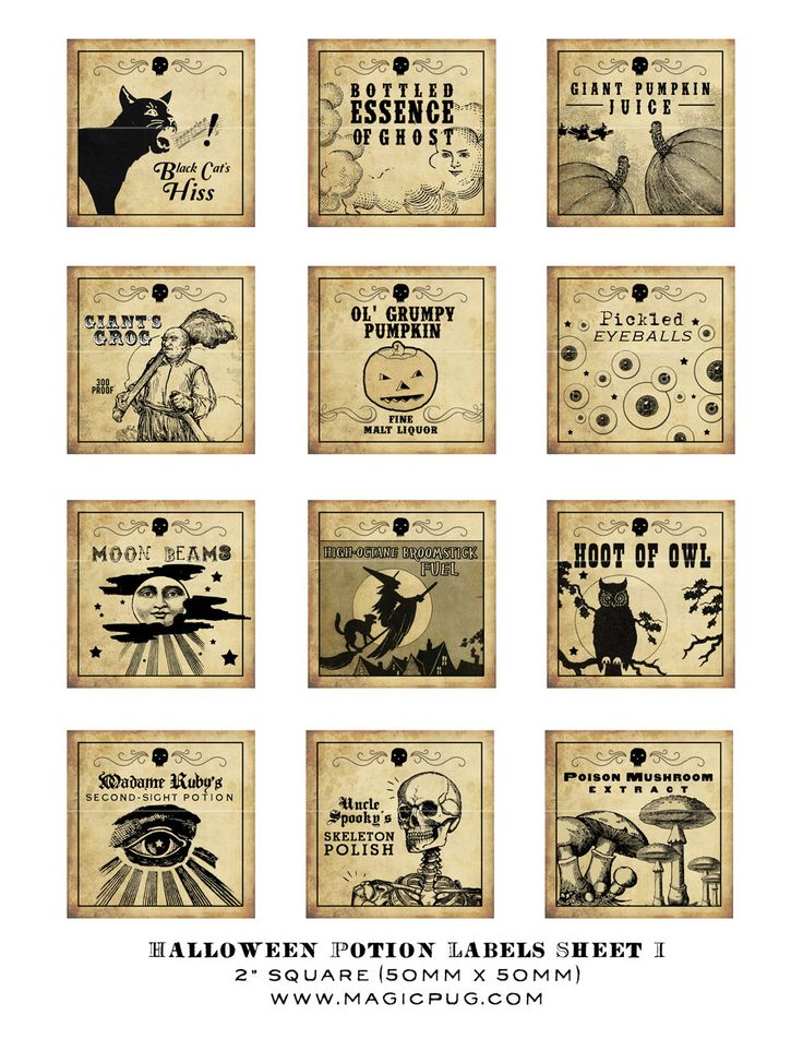 Antique Halloween Potion Labels I 2x2 inch digital collage sheet inchies 50mm square witch owl poison mushroom black cat pumpkin witches. $4.00, via Etsy.
