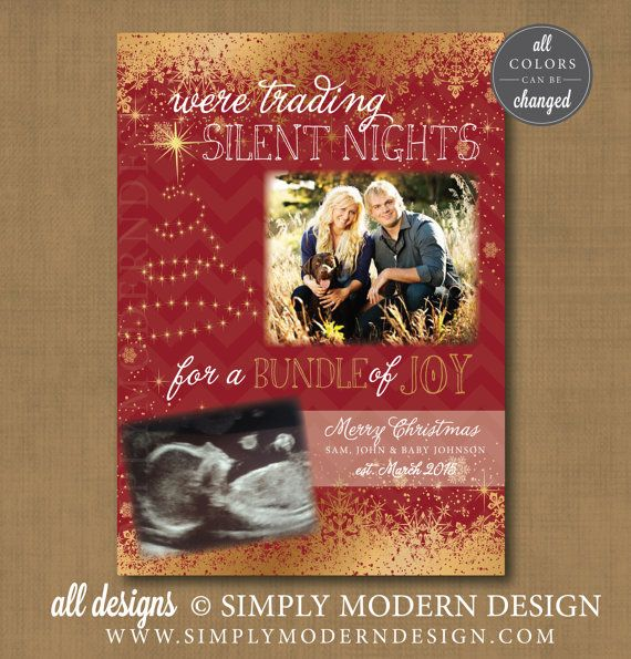 pregnancy announcment, christmas card, new baby, www.simplymoderndesign.com