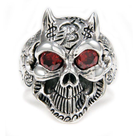 7f3f334b1 Demon/Red Eyes/Devil/Skull/925 Sterling Silver Ring/Silver Skull Ring/Tattoo/Red  CZ/Biker Jewelry/Si