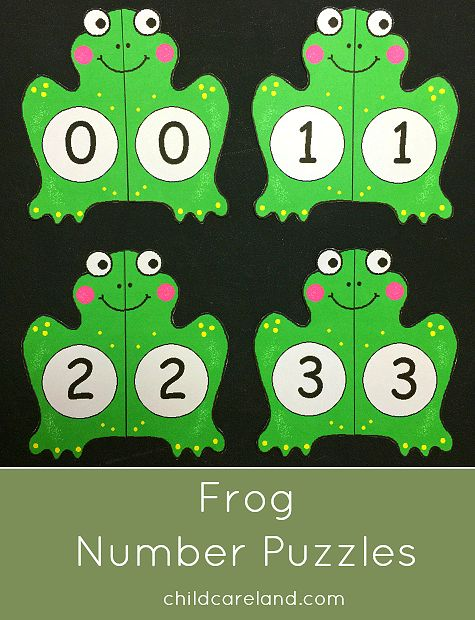 Frog number puzzles for number recognition and review ... ribbit ribbit.