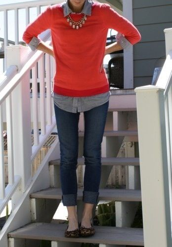 Jeans Friday Love: chambray shirt, red sweater, skinny jeans, leopard flats and pearls