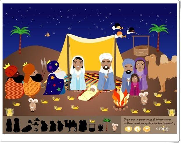 """""""Le grand crèche de Noël"""", de croire.com, es un bonito Portal de Belén, ambientado en el desierto, que ha de ser compuesto con las figuras adecuadas y puede ser animado. Además, otro modelo puede ser coloreado y se puede imprimir."""