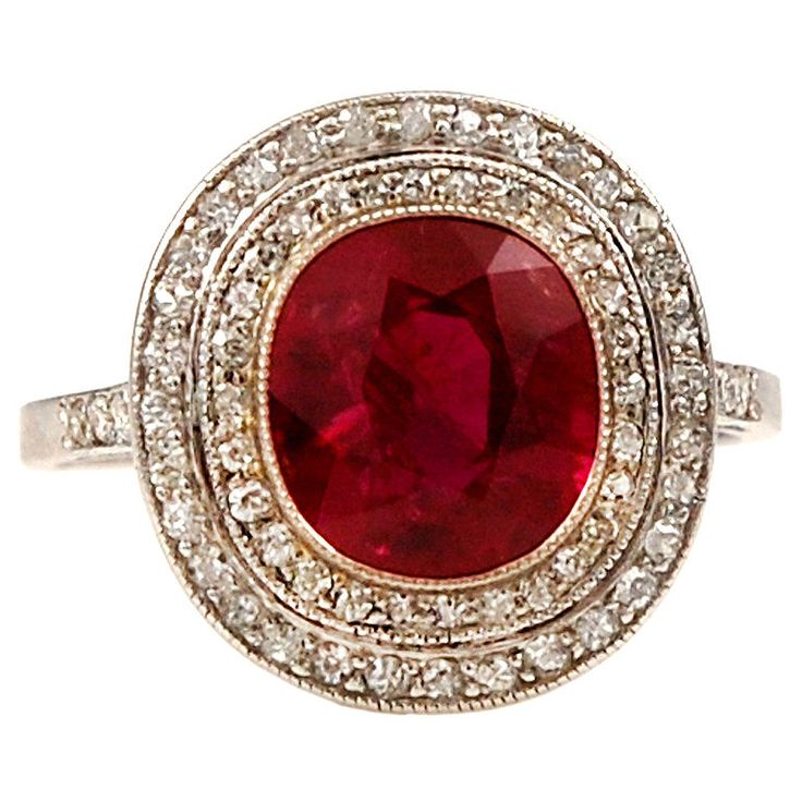 1915 French BURMA RUBY Edwardian Diamond Ring