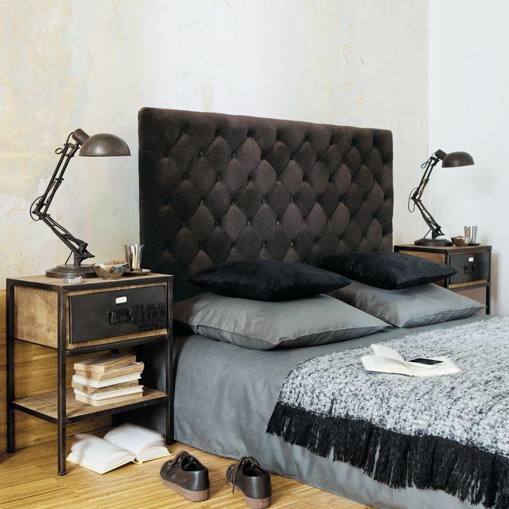 Comodino nero in metallo con cassetto L 45 cm Manufacture   Maisons du Monde