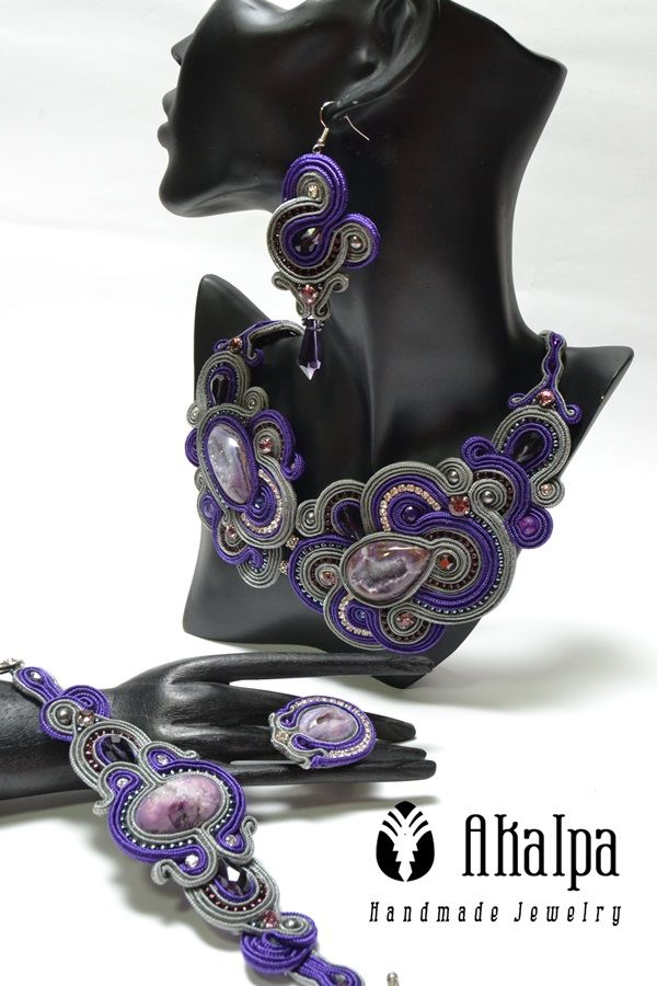 Set of Violet Soutache Jewelry