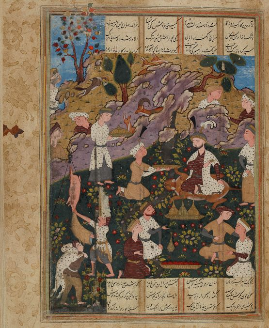 The court of Kiyumars Ferdowsi, Shahnameh Safavid: Qazvin or Mashhad, c.1580 Opaque watercolour, ink and gold on paper Cambridge University Library, MS Add. 269, fol. 19r