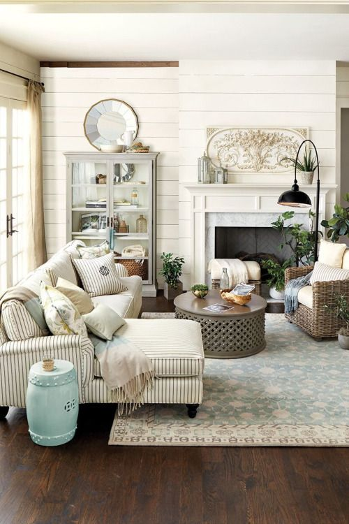 Oldfarmhouse Cape Cod Farmhouse Via The Farmhouse Love The Striped Couch In This Room Find This Pin And More On Teal And Tan Livingroom