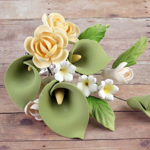 Green Calla Lily Yellow Rose Sprays Brg 4 Gum Paste Flowers Yellow Roses Gum Paste