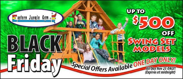 Shop with Eastern Jungle Gym on Black Friday and you could save up to $500 on a brand new swing set for the kids! Check out all the deals on our coupon page: http://www.easternjunglegym.com/black-friday-sale