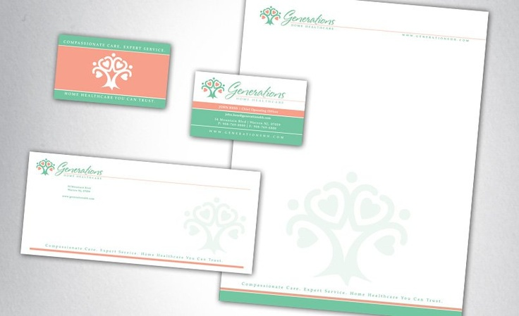 Stationery design for a full-service home healthcare support for elderly people.