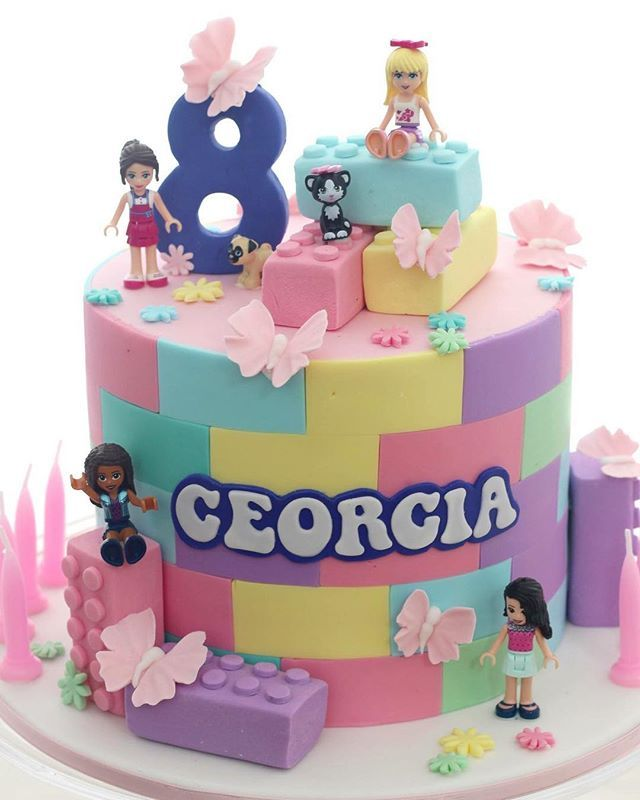 Admirable Lego Friends Lego Legofriends Cake Happy Birthday Georgia Personalised Birthday Cards Paralily Jamesorg