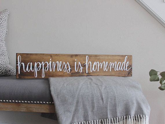 Happiness is Homemade  Wood Sign  Home Decor  Rustic Sign