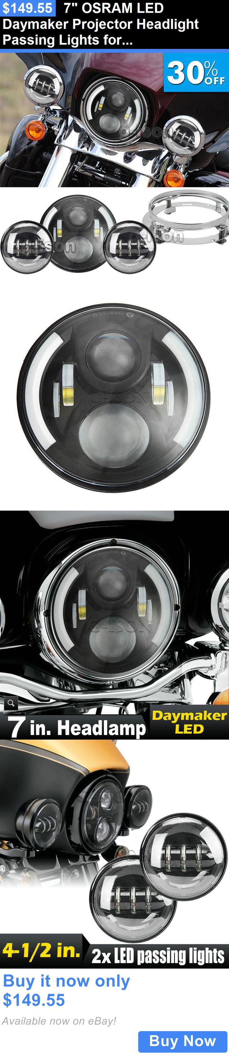 motorcycle parts: 7 Osram Led Daymaker Projector Headlight Passing Lights For Harley Davidson New BUY IT NOW ONLY: $149.55