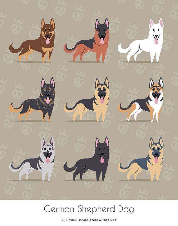Impresión de arte de perros pastores alemanes por doggiedrawings